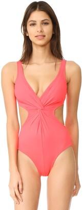 Shoshanna Women's Soft Solid Cutout Twist One Piece Swimsuit