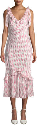 Maggie Marilyn You Can Hold Your Own Dot-Print Ruffle Dress