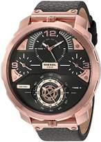 Diesel Men's 'Machinus' Quartz Stainless Steel and Leather Automatic Watch, Color: (Model: DZ7380)