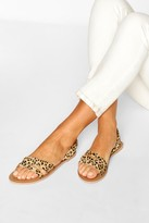 boohoo Leopard Leather 3 Strap Sandals