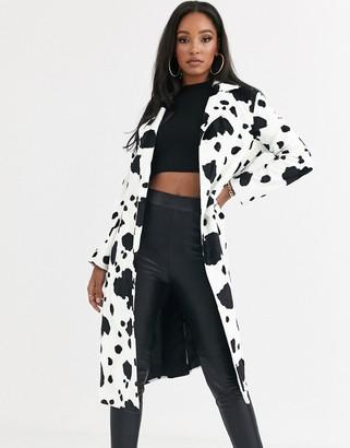 Helene Berman Ruth faux cow skin long coat-White