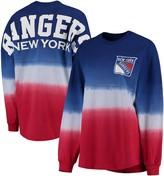 Women's Fanatics Branded Royal/Red New York Rangers Ombre Spirit Jersey Long Sleeve Oversized T-Shirt