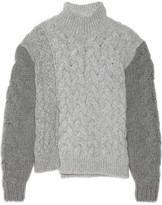 Stella McCartney Mélange Cable-knit Wool-blend Turtleneck Sweater - Gray