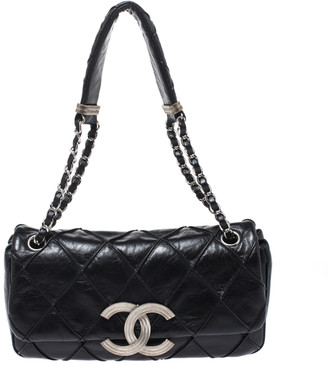 Chanel Black Leather Diamond Stitch CC Flap Shoulder Bag