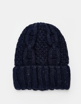 Selected Cable Knit Beanie - Blue