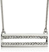 Jessica Simpson Rhodium/Crystal Pave Bar Pendant Necklace, 18""