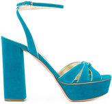 Casadei gathered strap platform sandals - women - Leather/Suede - 36
