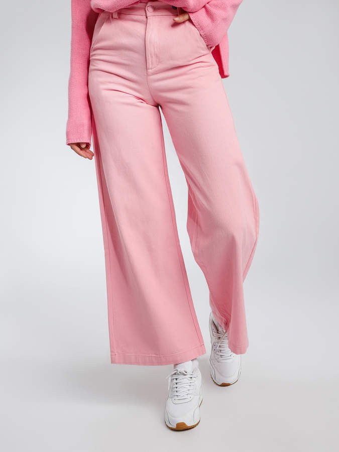 Lazy Oaf Flower Power Wide Leg Jeans in Pink Denim