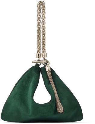 Jimmy Choo CALLIE Dark Green Suede Clutch Bag