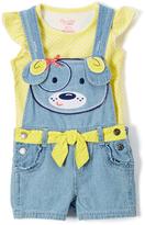 Nannette Yellow Angel-Sleeve Top & Shortalls - Infant Toddler & Girls