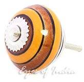 Eyes Of India - Brown Orange Decorative Ceramic Cupboard Door Dresser Cabinet Knobs Pulls Handle