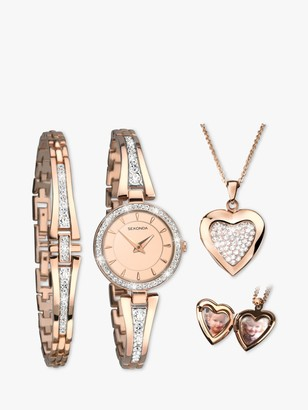 Sekonda 2533G.76 Women's Crystal Locket Pendant Bangle and Bracelet Strap Watch Gift Set, Rose Gold