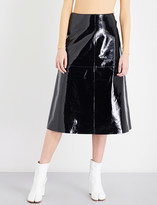 Maison Margiela Patent-leather A-line midi skirt