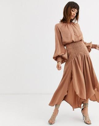Asos DESIGN satin blouson midi dress with shirring and keyhole detail