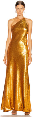 Galvan Gilded Roxy Dress in Burnished Gold | FWRD