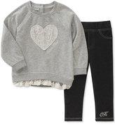 Calvin Klein 2-Pc. Lace Tunic & Leggings Set, Baby Girls (0-24 months)