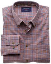 Slim Fit Blue And Orange Check Tweed Look Cotton Shirt Single Cuff Size Medium By Charles Tyrwhitt