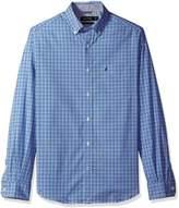 Nautica Men's Big and Long Sleeve Poplin Wrinkle Resist Plaid Shirt