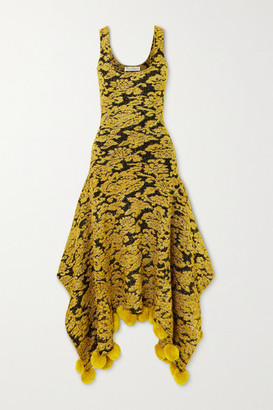 J.W.Anderson Asymmetric Pompom-embellished Metallic Floral-jacquard Dress - Gold