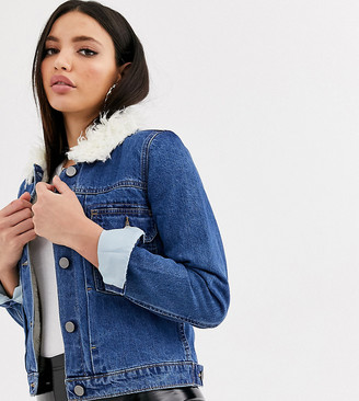 Asos Tall DESIGN Tall denim jacket with borg lining in blue