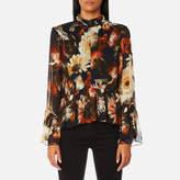 Gestuz Women's Fergie Flower Print High Neck Blouse Multi