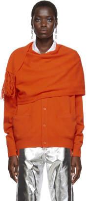 Pushbutton Orange Scarf Cardigan