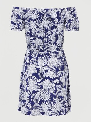 Very Bardot Elastic Waist Jersey Mini Dress - Navy Print