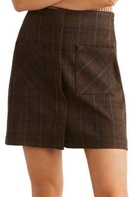 MANGO Madras Plaid Mini Skirt