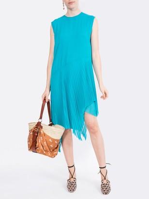 Marques Almeida Asymmetric Plisse Dress Turquoise