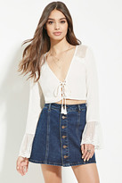 Forever 21 FOREVER 21+ Lacy Lace-Up Crop Top