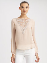 Lace-Trimmed Silk Blouse