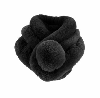 Eqlef Faux Fur Scarf Black Fake Fur Scarfs Winter Neck Warm Collar Scarf with Soft Ball for Women (Black)