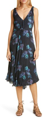 Vince Painted Floral Twist Front Sleeveless Plisse Dress