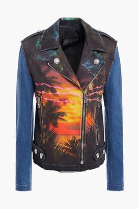 Balmain Printed Denim Biker Jacket