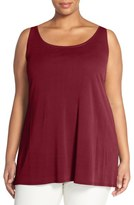Eileen Fisher Silk Jersey Scoop Neck Tunic (Plus Size)