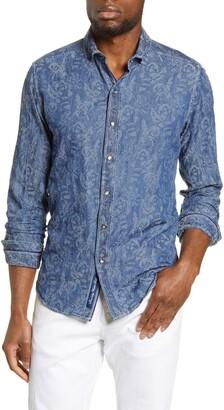 Robert Graham Waynes Rose Jacquard Slim Fit Denim Button-Up Shirt