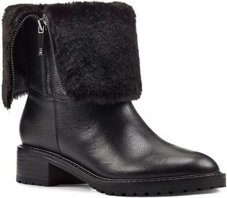 Bandolino Fur Trim Side Zip Leather Booties - Cassy