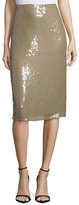 Nina Ricci Embellished Below-Knee Pencil Skirt, Sage Beige