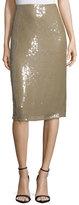 Nina Ricci Embellished Below-Knee Pencil Skirt, Sage Beige