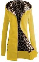 DaySeventh Women Velvet Zipper Hooded Sweater Leopard Pattern Coat (S, )