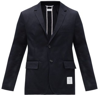 Thom Browne Unstructured Single-breasted Wool Blazer - Navy
