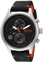 HUGO BOSS BOSS Orange Men's 'Amsterdam' Quartz Stainless Steel and Leather Casual Watch, Color:Black (Model: 1550020)