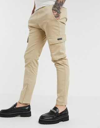 Good For Nothing skinny cargo trousers in stone