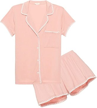 Eberjey Frida - The Whip Stitch Short PJ Set (Rose Tan/Ivory) Women's Pajama Sets