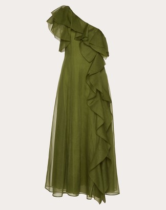 Valentino Organza Dress Women Green Silk 100% 36
