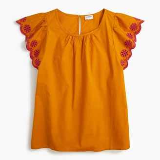 J.Crew Embroidered flutter-sleeve blouse in stretch cotton poplin