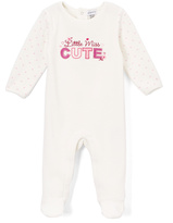Absorba White & Pink 'Little Miss Cute' Velour Footie - Infant