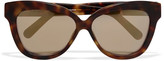 Linda Farrow Cat-eye matte-acetate mirrored sunglasses