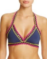 Becca by Rebecca Virtue Scenic Route Crochet Trim Halter Bikini Top
