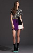 Fausto Puglisi Layered Wool Crepe Color-Block Mini Skirt